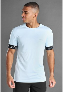 MAN Active Muscle-Fit T-Shirt mit MAN-Bündchendetail, Blau