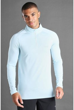 Blue MAN Active Muscle 1/4 Zip Funnel Neck Top