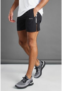 Black MAN Active Shorts With Split Hem