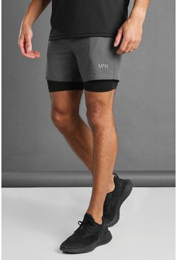 Charcoal MAN Active 2-IN-1 Contrast Compression Shorts