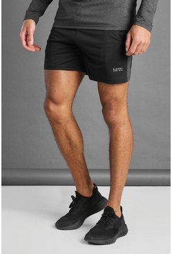 Black MAN Active Shorts With Melange Panel Detail