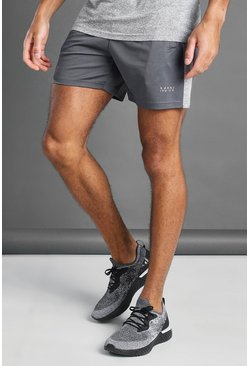 Charcoal MAN Active Shorts With Melange Panel Detail