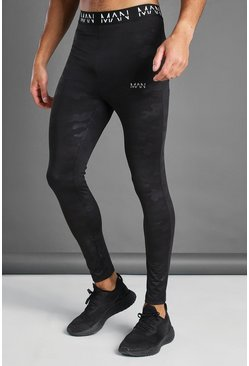 Black MAN Active Camo Print Tight