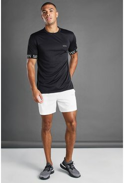 White MAN Active Elasticated Cuff T-Shirt And Short Set