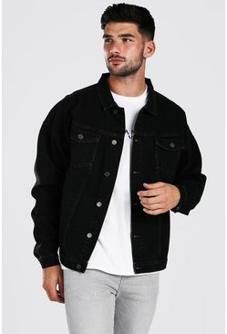 Oversized Jeansjacke, Anthrazit