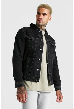 Charcoal Regular Denim Jacket With Borg Collar