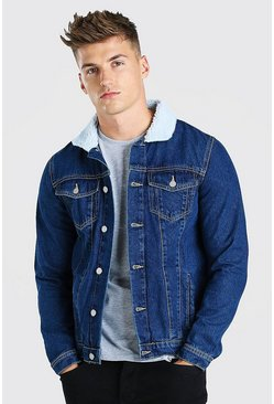 Mid blue Regular Denim Jacket With Borg Collar