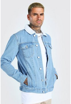 Light blue Regular Denim Jacket With Borg Collar