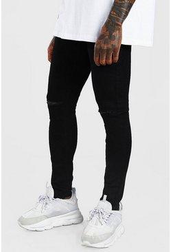 Black Super Skinny Jeans With Knee Slit