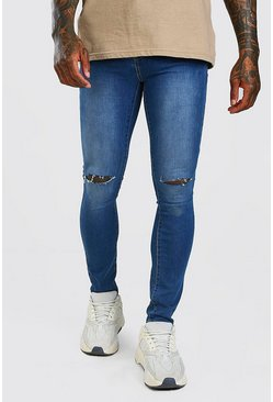 Mid blue Super Skinny Jeans With Knee Slit
