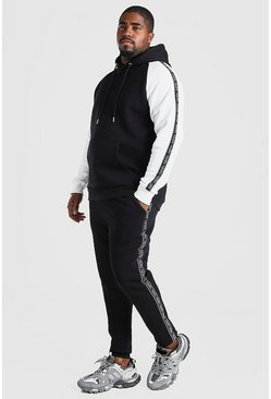 Black Big & Tall Colour Block Tape Tracksuit