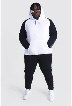 White Big & Tall Colour Block Tape Tracksuit
