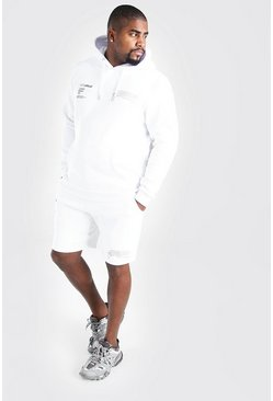 White Big & Tall MAN Graffiti Short Tracksuit