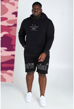 Black Big & Tall MAN Short Tracksuit With Print
