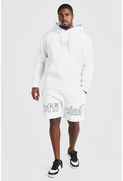 White Big & Tall MAN Short Tracksuit With Print