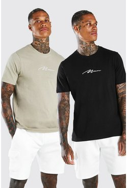 Black MAN Signature T-Shirt 2 Pack