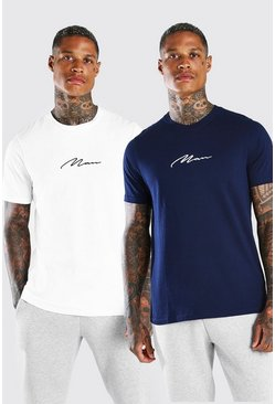 Blue MAN Signature T-Shirt 2 Pack