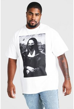 White Big & Tall Mona Lisa Bandana T-Shirt
