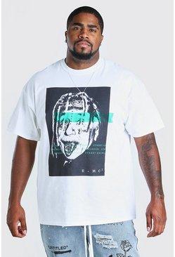 White Big & Tall Einstein Tattoo Print T-Shirt