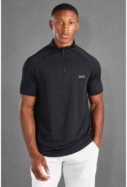 Black MAN Active Zip Short Sleeve T-Shirt