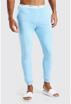 Light blue MAN Signature Embroidered Waist Skinny Jogger