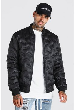 Black Geo Padded Bomber Jacket