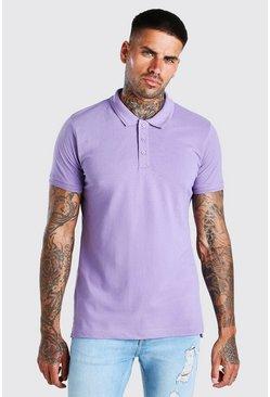 Mauve Short Sleeve Pique Polo