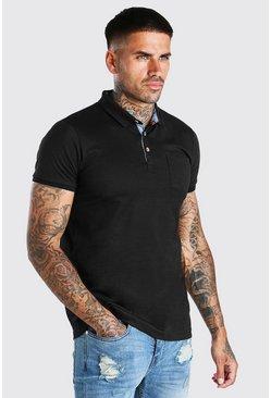 Black Short Sleeve Polo With Pocket