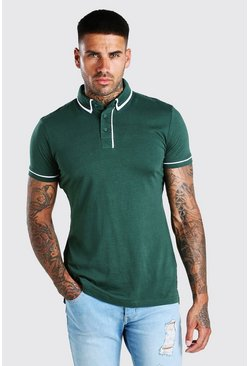 Green Short Sleeve Polo With Piping