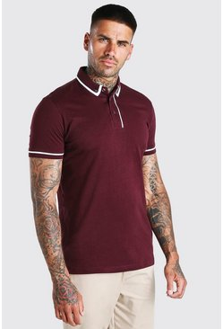 Burgundy Short Sleeve Polo With Piping