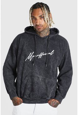 Charcoal MAN Official Script Acid Wash Hoodie