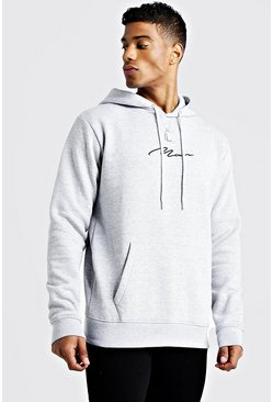 Grey marl MAN Signature Over The Head Hoodie