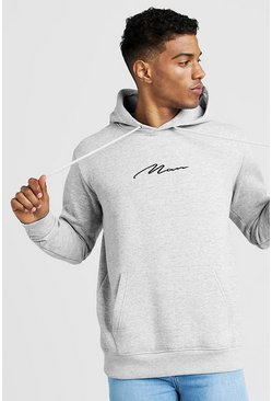 Grey marl Oversized MAN Signature Hoodie