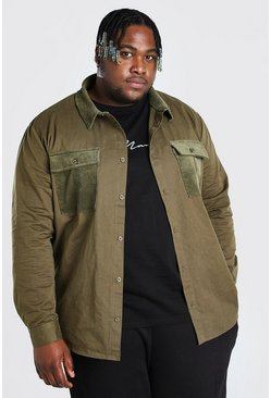 Green Plus Size Cord Pocket And Collar Shirt