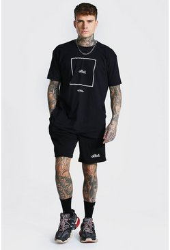 Oversized Offcl Box Print Tee and Short Set, Black