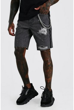 Washed black Loose Bandana Rip & Repair Jean Shorts