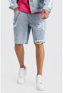 Light blue Loose Bandana Rip & Repair Jean Shorts