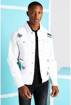 White Rip & Repair Bandana Butterfly Denim Jacket