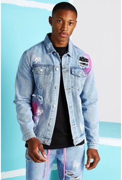 Light blue Rip & Repair Bandana Butterfly Denim Jacket