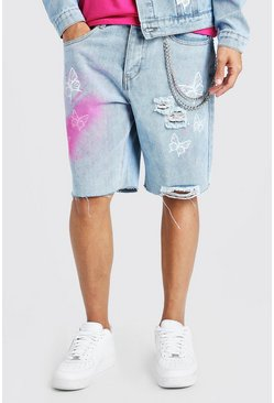 Light blue Loose Butterfly Print Denim Shorts With Chain
