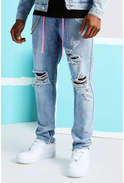Light blue Skinny Butterfly Print Rigid Ripped Jeans