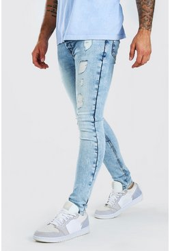 Ice blue Super Skinny Distressed Washed Jeans