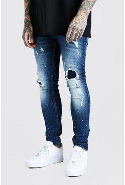 Dark blue Super Skinny Rip & Repair Jeans