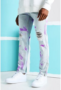 Light blue Skinny Rigid Spray Paint Ripped Jeans