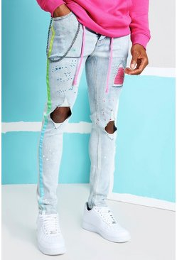 Light blue Super Skinny Ripped Knee Ombre Tape Jeans