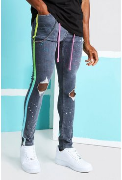 Light grey Super Skinny Ripped Knee Ombre Tape Jeans