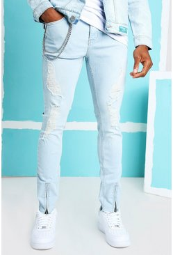 Ice blue Skinny Ankle Zip Jeans With All Over Rips