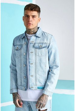 Ice blue All Over MAN Print Regular Fit Denim Jacket