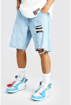 Ice blue All Over Man Print Loose Fit Jean Short