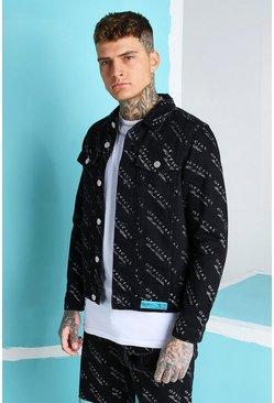 True black All Over MAN Print Regular Fit Denim Jacket